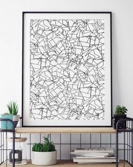 Shop B & W Mess, Abstract Minimal Line Art, Black & White Drawing Art Print by artist Uma Gokhale 83 Oranges unique artist-designed wall art & home décor