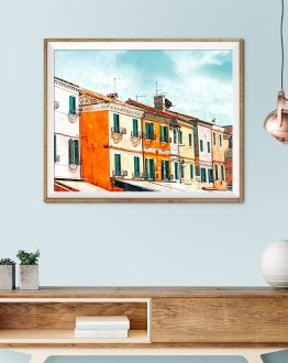 Shop Burano Island, Travel Architecture Watercolor Painting, Eclectic Art Print by artist Uma Gokhale 83 Oranges unique artist-designed wall art & home décor