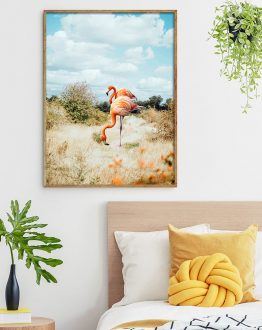 Shop Flamingo Couple, Tropical Nature Landscape, Photography Digital Wildlife Art Print by artist Uma Gokhale 83 Oranges unique artist-designed wall art & home décor