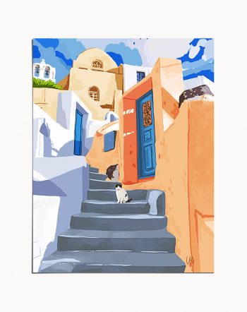 Shop Cat in Greece, Santorini Travel Architecture Tropical Building Painting Art Print by artist Uma Gokhale 83 Oranges unique artist-designed wall art & home décor