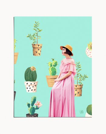 Shop Lady Love, Vintage Bohemian Woman Fashion, Graphic Cactus Art Print by artist Uma Gokhale 83 Oranges unique artist-designed wall art & home decor