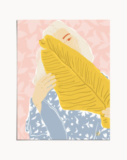 Shop Shy, Tropical Bohemian Pastel Woman Portrait Illustration Art Print by artist Uma Gokhale 83 Oranges unique artist-designed wall art & home décor