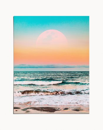 Shop Tropical Moon, Blush Nature Landscape Travel, Ocean Graphic Beach Art Print by artist Uma Gokhale 83 Oranges unique artist-designed wall art & home décor