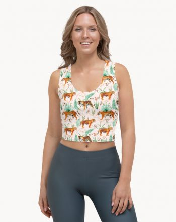 Shop the Tropical & Tigers, Jungle Wildlife Nature, Blush Botanical Crop Top made to order by artist Uma Gokhale for 83 Oranges unique artist-designed fashion