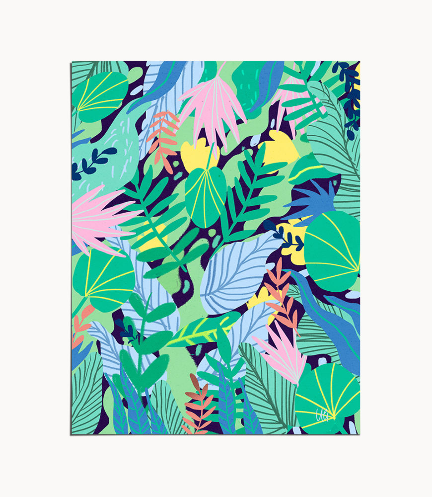 Shop Wild Jungle, Eclectic Quirky Colorful Illustration, Forest Painting Art Print by artist Uma Gokhale 83 Oranges unique artist-designed wall art & home décor