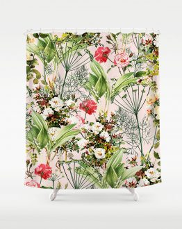 Shop Botanical Blush Chic Tropical Floral Summer Bohemian Shower Curtains by artist Uma Gokhale for 83 Oranges home décor