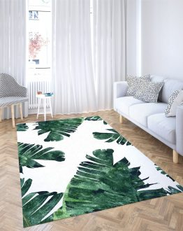 Shop Banana Leaves Watercolor, Tropical Nature Botanical Area Rug designed by artist Uma Gokhale for 83 Oranges home décor