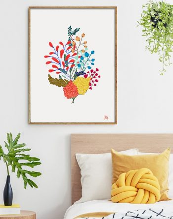 Shop Charm, Minimal Floral, Eclectic Bohemian Botanical Illustration Art Print by artist Uma Gokhale 83 Oranges unique artist-designed wall art & home décor