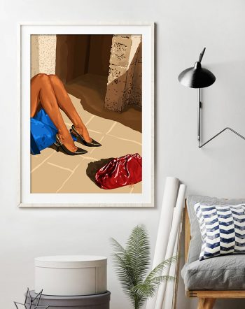 Shop Introspection, Bohemian Woman Solitude Painting, Fashion Travel Lifestyle Architecture Illustration Art Print by artist Uma Gokhale 83 Oranges unique artist-designed wall art & home décor