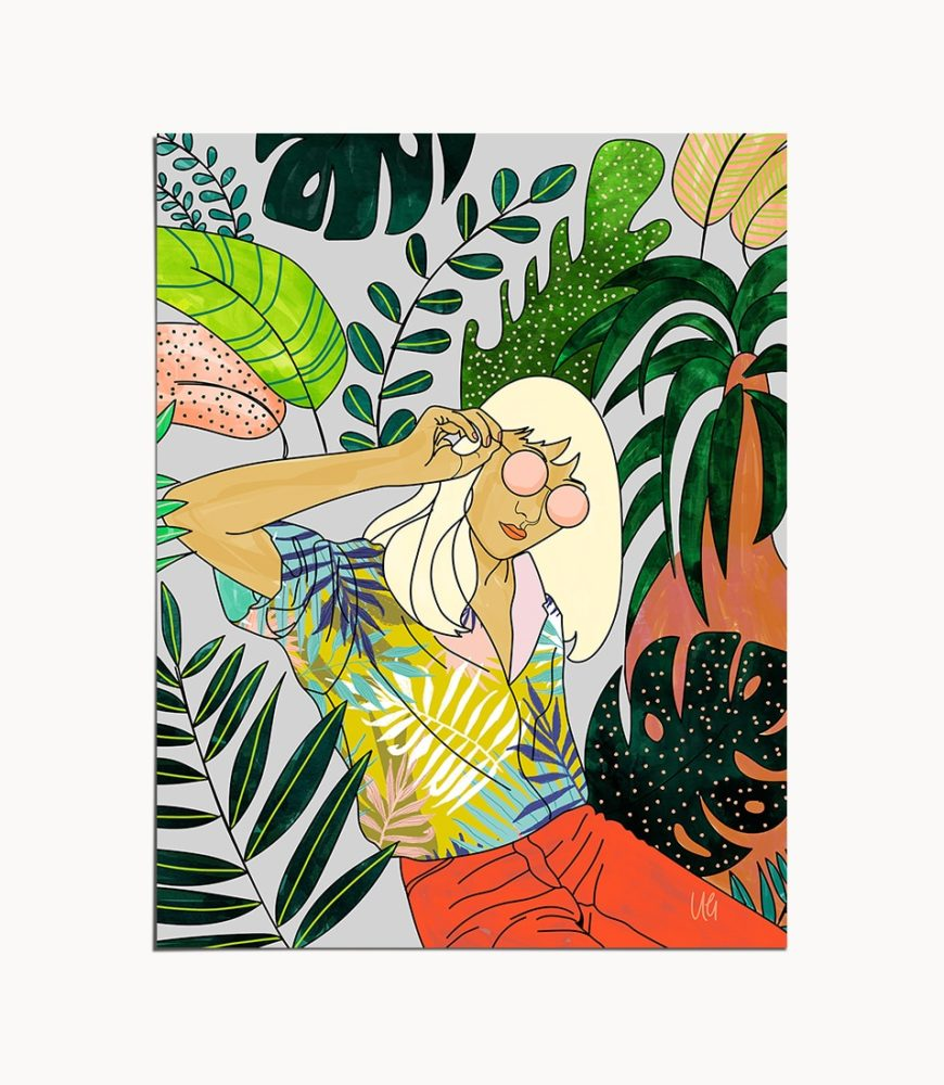 Shop Spring Break, Modern Bohemian Woman, Tropical Jungle Travel Art Print by artist Uma Gokhale 83 Oranges unique artist-designed wall art & home décor