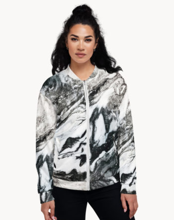 Shop Black Marble, Abstract Marble Texture, Scandinavian, Unisex Bomber Jacket by artist Uma Gokhale 83 Oranges artist-designed unique unisex fashion