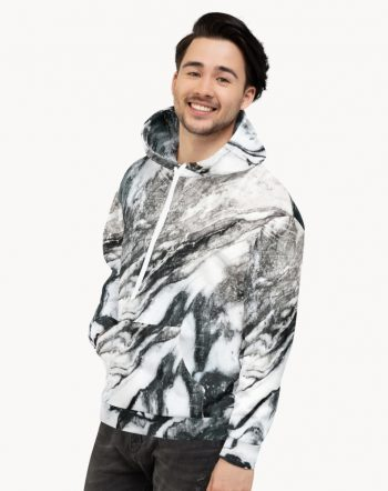 Shop Black Marble, Abstract Marble Texture, Scandinavian, Unisex Hoodie made to order by artist Uma Gokhale for 83 Oranges unique artist-designed fashion